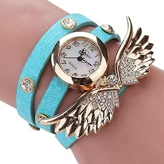 Fashion Large Wings Circle Bracelet Quartz Watch(Black) Personality (Color : Sky Blue)