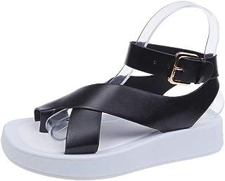 Women'S Sandals,Women'S Platform Sandals,Black Leather Low Heel White Sole Casual Clip-Toe Cross Strap Sandalias Woman Summer Shoes