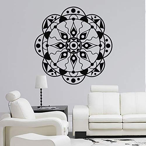 Decal Mandala Lotus Flower Pattern Yoga Ornament OM Indian Buddha Symbol Vinyl Wall Sticker Bedroom Living Room Studio Home Decoration Art Mural Poster