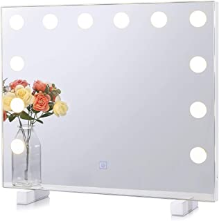 Dimmable Lighted Bathroom Mirror for Wall with 3 Color Changing, Hollywood Vanity Mirror with Lights, Frameless Makeup Mirror for Bathroom Bedroom Vanity, Wall Mounted or Tabletop (19.69
