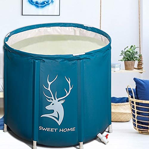 SMONTER 70X70 Portable Bathtub, Foldable Free Standing Soaking Bath Tub Easy to Install, Eco-Friendly Bathtub Bathroom Spa,Thickening with Thermal Foam to Keep Temperature,for Two Person, DEER HEAD