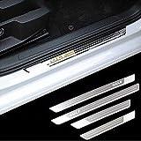 ZQTG 4 Piezas de Tira de umbral de Puerta de Acero Inoxidable Pedal de Bienvenida Pegatinas de Estilo de Coche Accesorios de automóvil adecuados para VW Volkswagen Golf 7 mk7 R 2013-2018