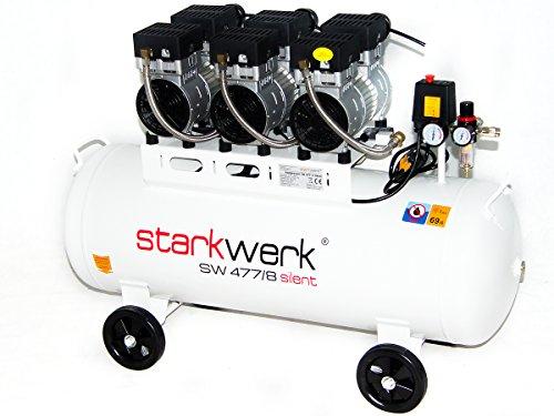 Starkwerk Silent Druckluft Kompressor SW 477/8 Ölfrei 100L Kessel Flüsterkompressor - 2