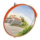 Relaxdays 10028416_47 Specchio Convesso 45 cm,Resistente alle Intemperie,Infrangibile,per Esterni & Interni,Incluso Supporto, Rosso, 45 x 45 x 24 cm
