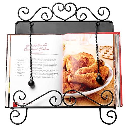 MyGift Vintage Scrollwork Design Black Metal Cookbook Holder Stand