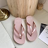 NISHIWOD Zapatillas Casa Chanclas Sandalias Chanclas para Mujer Cuñas Zapatillas Exteriores Zapatos Suaves Casual Shinny Beach 3.5 Cm De Altura PVC Sólido Bling PU 8 Rosa
