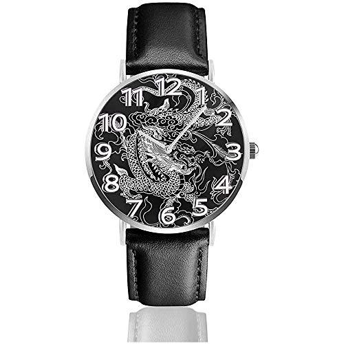 Chinesischer Drache Hand gezeichnete Armbanduhren Business-Uhren mit PU-Lederband Quarzuhr
