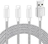 Mitesbony Cable pour iPhone【Certifié_MFi】 2M/Lot de 3 Nylon Tressé Cordon Chargeur iPhone Compatible avec iPhone 11/XS Max/XR/XS/X/8/8 Plus/7/7 Plus/6 Plus/6s/6/5S/5c/5,Pad (Gris Argenté)