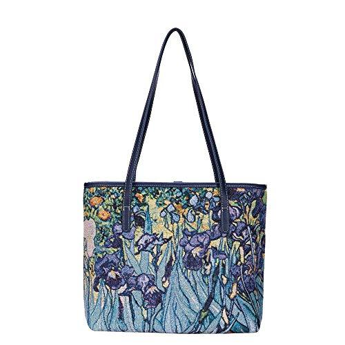 Signare Tapisserie Kunst Taschen, Umhängetasche Frauen, Umhängetasche Frauen, Einkaufstasche, Kosmetiktasche Inspiriert von van Gogh - Iris (Tragetasche)