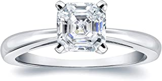 JEWELERYIUM Asscher Cut 1.00Ct, VVS1 Clarity, Moissanite Diamond, Solid 925 Sterling Silver Ring, Promise Ring, Engagement Ring, Wedding Gift, Party Fancy Jewelry