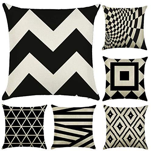 JOTOM Funda de Almohada de Lino de algodón Suave sofá Funda de cojín del Coche decoración de la Cama en casa 45 x 45 cm, Juego de 6 (Patrones geométricos 4)
