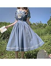 Mcttui Lolita kleding Japanse Lolita Sweet Dress Harajuku Sailor Lolita Jurk Streetwear Shirt Collar Navy Jurken Vintage Bow Kawaii Girls Preppy Style Lange mouw Jurk (Color : Blue, Size : Large)