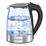 MEGAWISE 1500W Electric Kettle , 1.8L Borosilicate Glass Tea Kettle with LED Light, Auto Shut-Off and Boil-Dry Protection Cordless Kettle Fast Boiling, BPA Free
