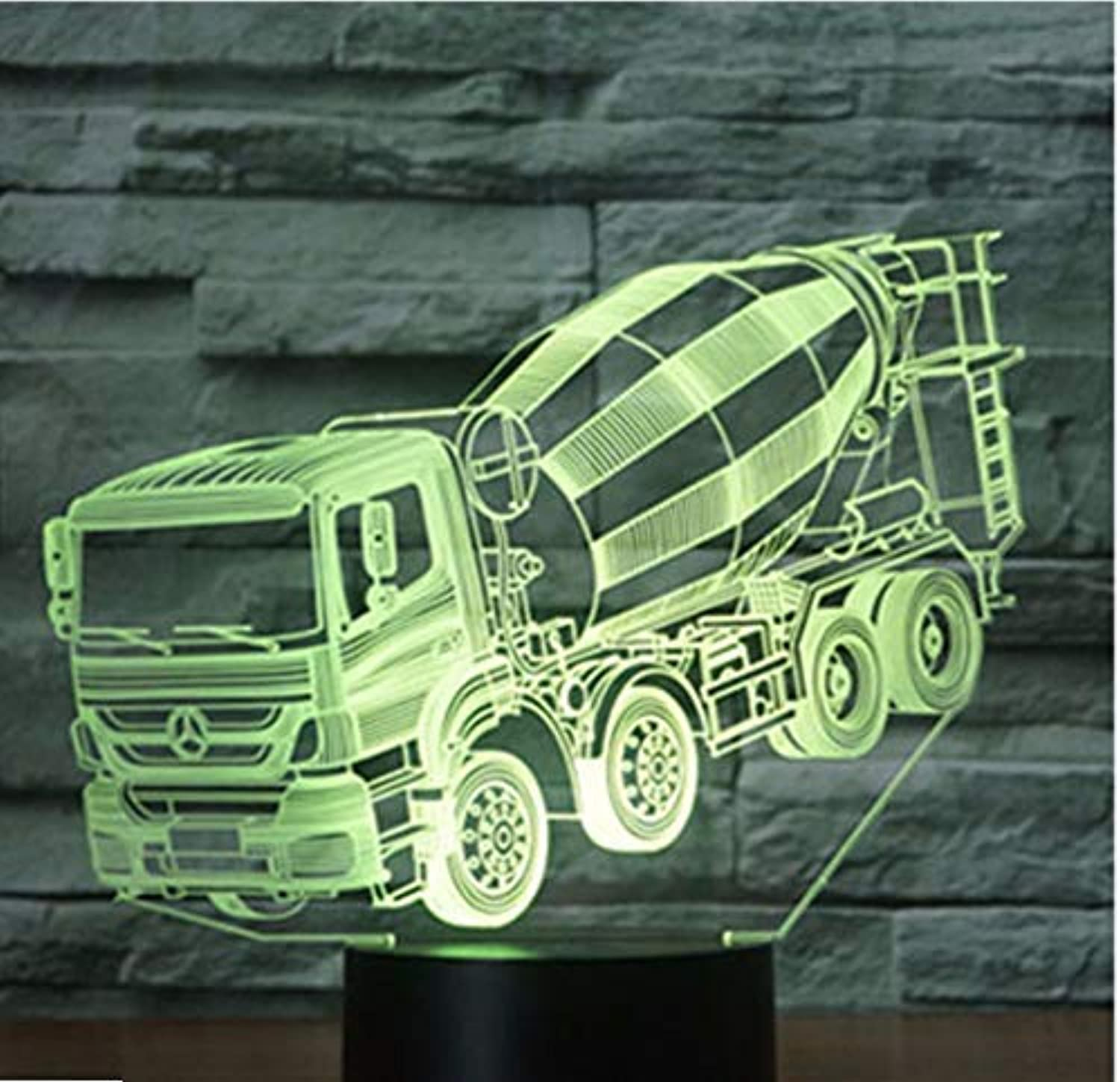 BMY 3D Led Night Light Mud Shrub Car with 7 colors Light for Home Decoration Lamp Amazing Visualization Optical Illusion Awesome
