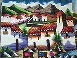 Perú peruano Alpacaandmore tejido a mano alfombra tejida diseño de juego de alfombra de pueblo en la vida de los Andes 100 x 100 cm