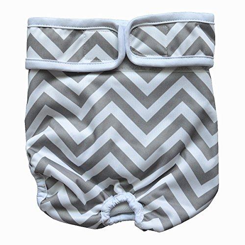 Hibaby Couches lavables réutilisables pour chien femelle (taille L : tour de taille 43,2 - 61 cm), motif chevron gris