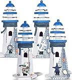 "Wooden Lighthouse Decor, Decorative Nautical Lighthouse, Nautical Lighthouse Decorations, 10.6"" Rustic Ocean Sea Beach Themed Lighthouse Decoration, Handcrafted Tabletop Nautical Themed Home Decor"