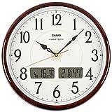 CASIO(カシオ) 掛け時計 電波 ダークブラウン 直径34cm アナログ 温度 湿度 カレンダー 表示 ITM-200J-5BJF