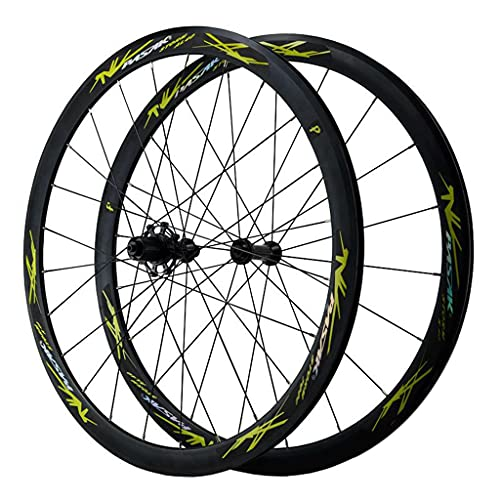 ZCXBHD Bicicleta Carretera Juego De Ruedas 700C QR Freno C/V Aleación de Aluminio llanta de Doble Pared para 7 8 9 10 11 12 Velocidad (Color : Green, Size : 700C)