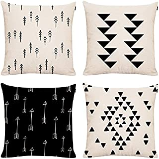 GTEXT Set of 4 Mordern Geometric Throw Pillow Covers 18x18, Sofa, Couch Pillow Covers,Outdoor Pillows Faux Linen Square Pillow Covers for Cushion, Fall Pillow Covers