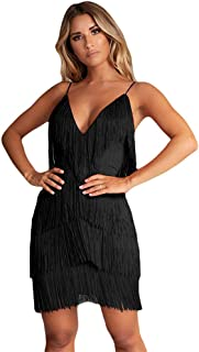 Women'Sexy Open Back Strap Skirt 1920s Gatsby Flapper Cocktail Party Fringed Mini Dress