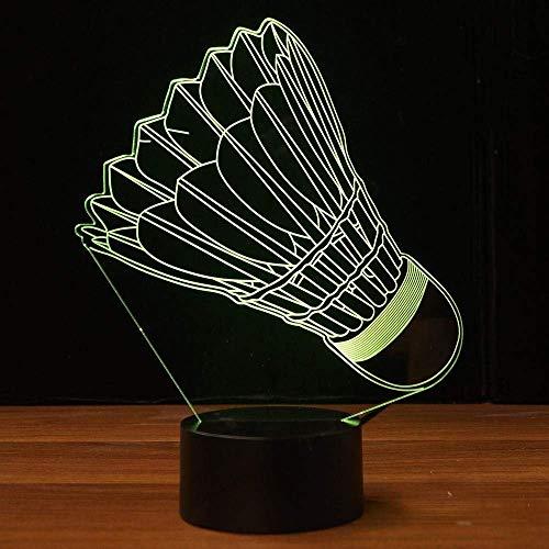 Kreative 3D Badminton Nacht Licht 7 Farben Andern Sich USB Adapter Touch Schalter Dekor Lampe Optische Täuschung Lampe LED Lampe Tisch Kinder Brithday Weihnachten Geschenke