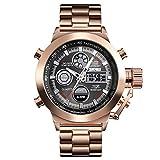 AZPINGPAN Luxury Mens Fashion Watch Sport 30M Impermeabile Orologi al Quarzo Uomo all Steel Army Military Watch Relogio Masculino, con Luminoso/Allarme/Cronografo/Sistema 12-24 Ore