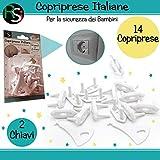 RS-Italy Copriprese Bambini | 14 Pezzi + 2 Chiavi | Copri Prese Elettriche Per Bambini | Copripresa Italiana e Copripresa Schuko | Copri Presa Per La Sicurezza Del Bambino
