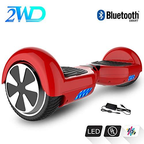 2WD Hoverboard 6.5 Pulgadas Monopatín Patinetes eléctricos Self-Balanced Scooter eléctrico UL2272 Certificado con Altavoz Bluetooth Incorporado