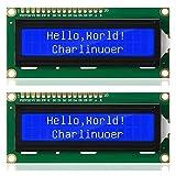 Ren He DC 5V HD44780 1602 LCD ディスプレイモジュール 16×2キャラクタ LCDモジュール白文字ブルーバックライト 2セット