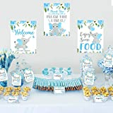Blue Elephant Baby Shower Decor Blue & Gray Table Bar Signs Food Tent Cards Thank You Tags Diaper Raffle Game Cards Set for Blue Little Peanut Welcome Baby Boy Birthday Party Supplies