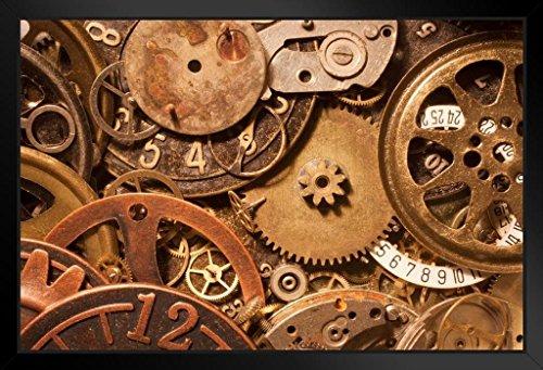 Wheels and Dials Machinery Parts Foto, gerahmtes Kunst-Poster aus schwarzem Holz, 50,8 x 35,6 cm