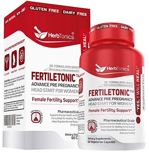 Fertility Supplements for Women to Help Pregnancy & Better Conception + Prenatal Vitamins - Aid Ovulation, Regulate Your Cycle, Balance Hormones with Folate Folic Acid Pills 60 Capsules