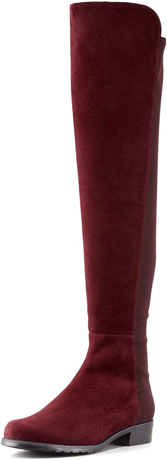 YDN Western Over the Knee High Suede Pull-on Closed Toe Low Block Heel Riding Boots