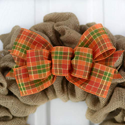Orange Fall Thanksgiving Plaid Wreath Bow - Wreath Embellishment for Making Your Own - Farmhouse Already Made