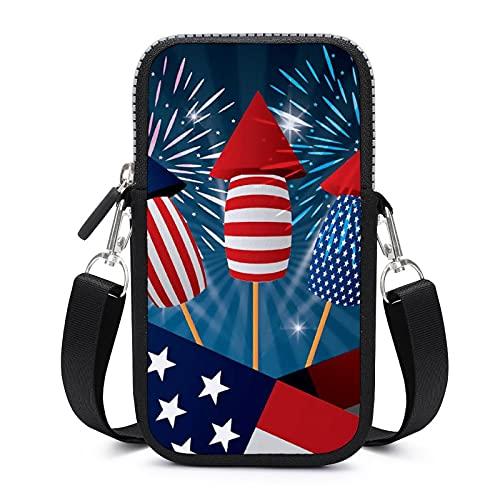 Bolso bandolera para teléfono móvil con correa de hombro extraíble, para el 4 de julio, funda anticaída, para teléfono móvil, cartera, gimnasio, fitness, bolsas para niños