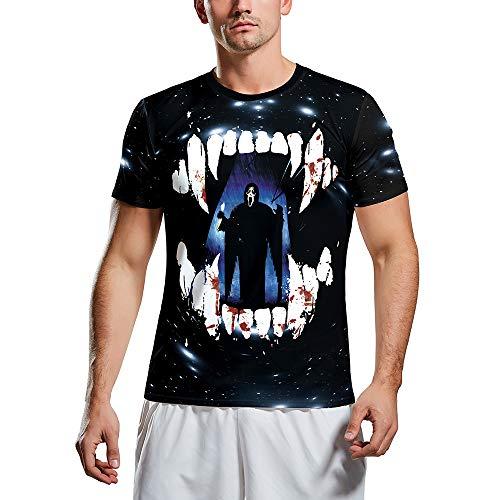 Halloween Kostüme Out Street Parade 3D Horror Print Kurzarm T-Shirt Herren T Shirt Bluse Tops Freizeit Sport Tops,Schwarz,M