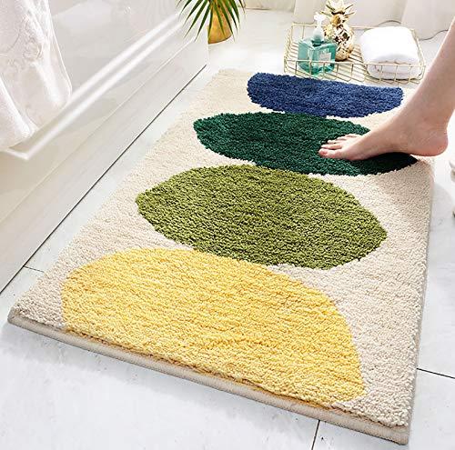 Xinyanmy Alfombra de baño multicolor alfombra de entrada felpudos de microfibra suave antideslizante alfombras de ducha durables, lavables a máquina, 50 x 80 cm