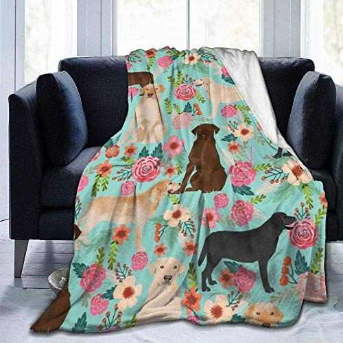 Manta Soft WarmLabrador Floral Menta Perros Lindos Mascotas Mascotas Yellow Lab Yellow Labrador Chocolate Labrador Manta de Lana Ultra Suave Sofá Manta de Cama de Viaje As_Pic