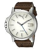 Puma Ultrasize - Reloj análogico de cuarzo con correa de cuero para hombre, color marrón/blanco