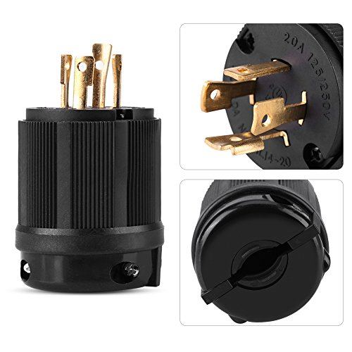 NEMA 14-20p US Twist Lock, 125V/250V 20A Twist Lock, 4-polige mannelijke stekker.