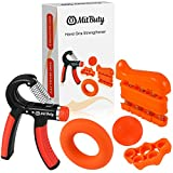 MitButy Hand Grips - Kit de 5 Fortalecedores de Manos: Hand Grip Ajustable (10 a 40 kg), Ejercitador de Dedos, Anillo de Fuerza, Banda de Dedos y Pelota Antiestrés para Artritis, Escalada, Guitarra