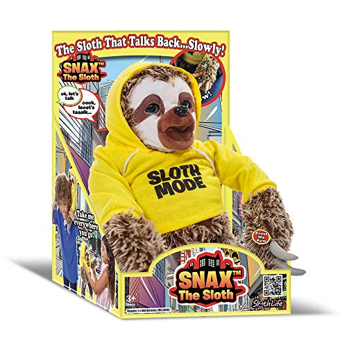 SNAX The Sloth - Talking Plush Sloth Toy for Kids from A Sloth Life, Soft Cuddly Sloth Stuffed Animal That Talks Back Slowly Perfect Toy Gift for Boys and Girls, Moving Eyes & Mouth with Bending Arms