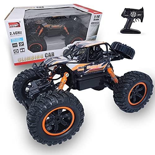 RC TECNIC Voiture Télécommandée 4x4 RC Bigfoot Rock Crawler 1:14 | 4WD Monster Truck Voiture Radiocommandée Tout-Terrain Électrique avec Batterie (Orange)