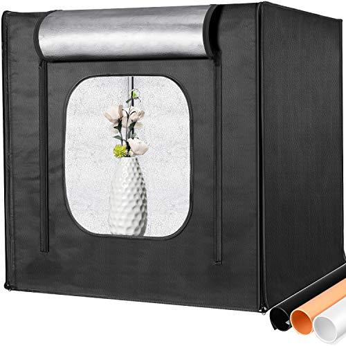 Neewer Caja de Luz Profesional Kit para Fotos 50x50cm Brillo Ajustable Fotografía de Estudio Iluminación Tienda de Tiro con 2 Paneles de Luz LED (100 Cuentas de LED SMD) 3 Fondos de Color Disparo