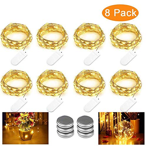 Qedertek 8 Pack Guirnalda Luces LED Pilas, Luces a Pilas 3M 30 LED, Habitacion Luces de Navidad, Micro Luces de Cadena de Alambre de Cobre para Decoración Interior, Bodas, Party (Blanco Calido)