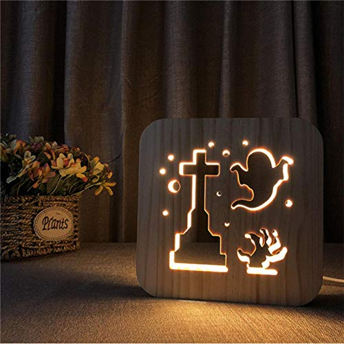 Led-nachtlampje in de vorm van een kruis van hout met 3D-geest, illusie Luminaria kinderlamp Halloween voor kinderen slaapkamer of slaapkamer