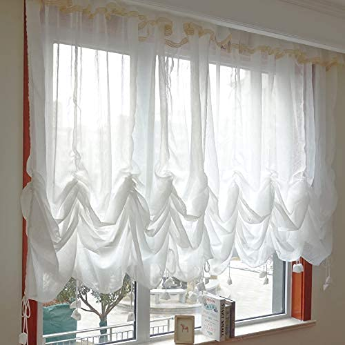 """FADFAY Sheer Curtain 78""""x59"""" Attached Valance Farmhouse White Lace Balloon Curtain Adjustable Tie-Up Curtain Shades, 1 Panel Door Curtain Shabby Tulle Curtain for Window"""