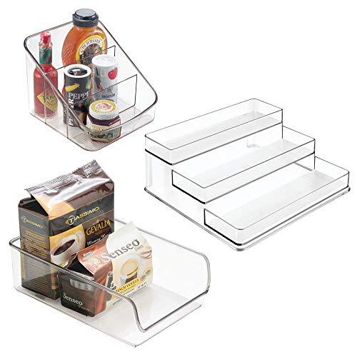 mDesign Küchen Organizer 3er-Set aus Kunststoff – praktisches Küchenzubehör für Arbeitsplatte, Küchenschrank oder Kühlschrank – Gewürzregal und 2 Kunststoffbehälter für die Küche – durchsichtig