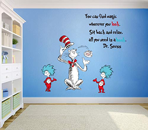 Runtoo Dr Seuss Quotes Saying Wall Decals Kids Educational Wall Stickers Children Reading Room Baby Nursery Wall Décor